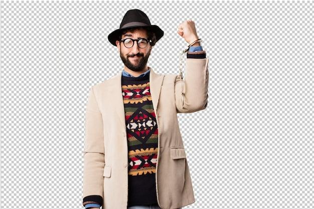 Joven hipster haciendo gestos