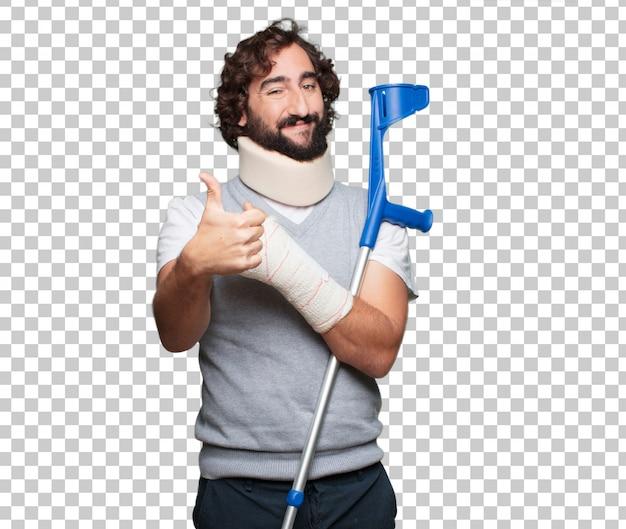Joven hombre roto huesos. lesiones y víctima de un concepto de accidente.