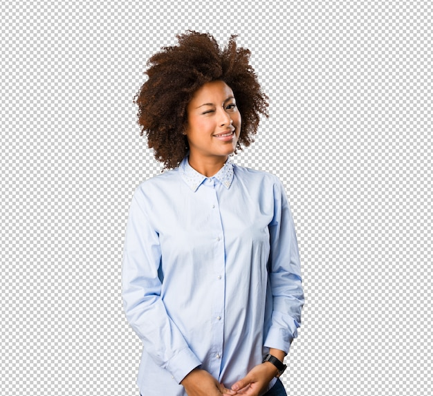 Joven, mujer negra, posición