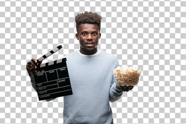 Joven negro con callos pop. concepto de cine