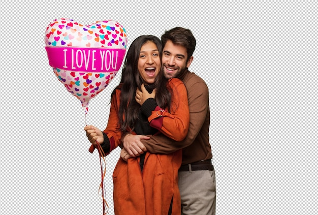 Joven pareja fresca celebrando el día de san valentín
