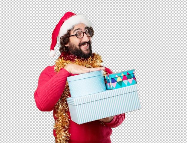 Joven vacaciones de navidad. expresando emociones y conceptos