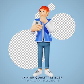 Jóvenes de pelo rojo pensando en ilustración de personaje 3d