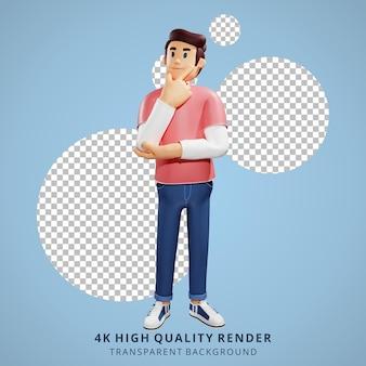 Los jóvenes pensando en la ilustración de personajes 3d