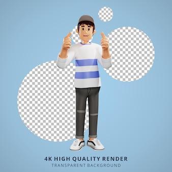 Los jóvenes tienen una idea de ilustración de personaje 3d