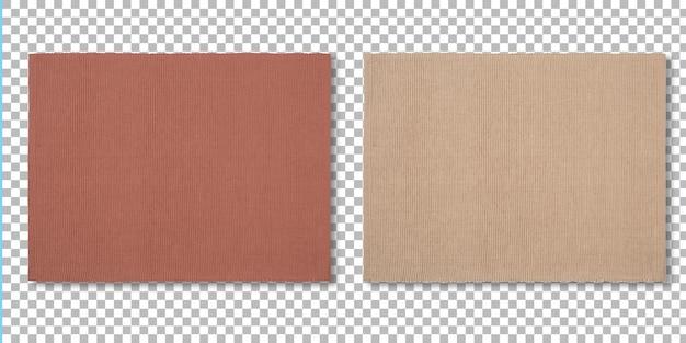 Juego de manteles individuales de colores para servir alimentos aislados en transparencia.