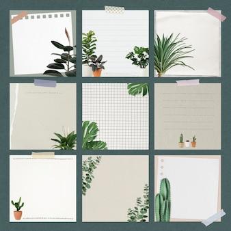 Juego de psd de notas de papel decorado con plantas de interior.