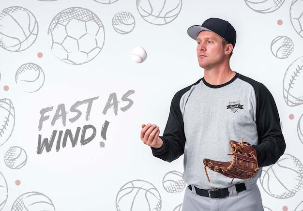 Jugador de béisbol profesional posando