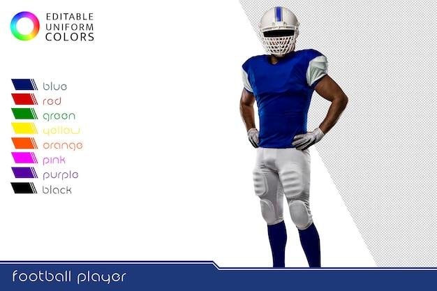 Jugador de fútbol americano con varios uniformes coloridos.