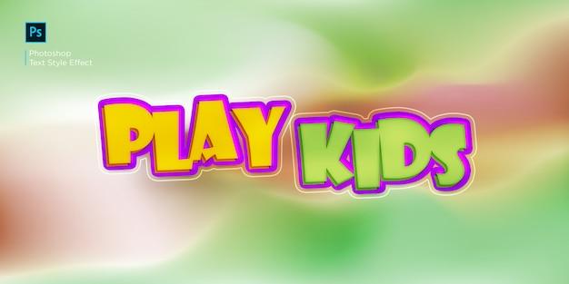 Jugar efecto de texto para niños diseño efecto de estilo de capa