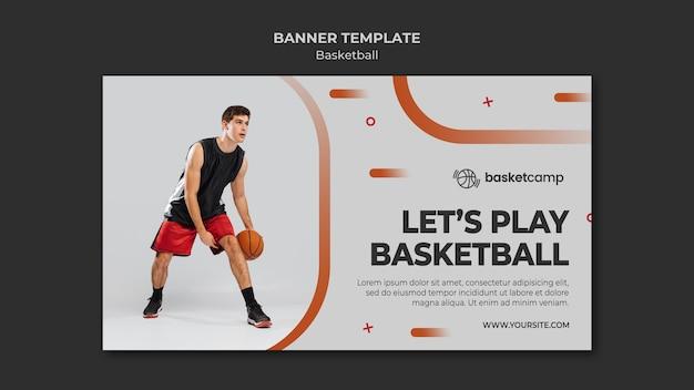 Juguemos plantilla de banner de baloncesto