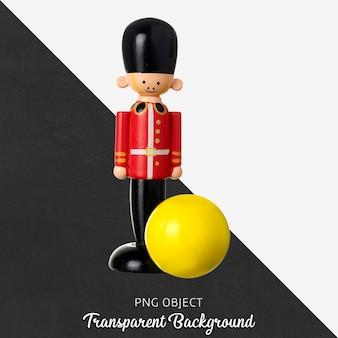 Juguete de madera transparente soldado y bola amarilla.