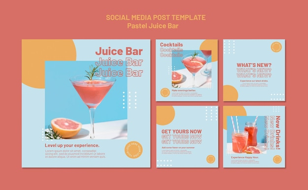 Juice bar social media postsjabloon
