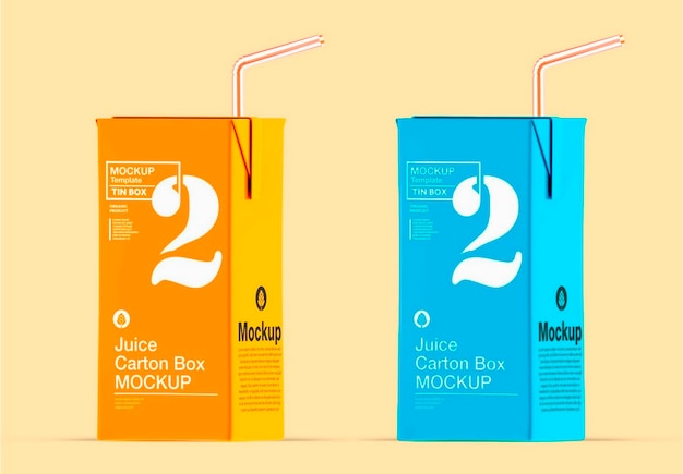 Juice carton box met straw mockup design
