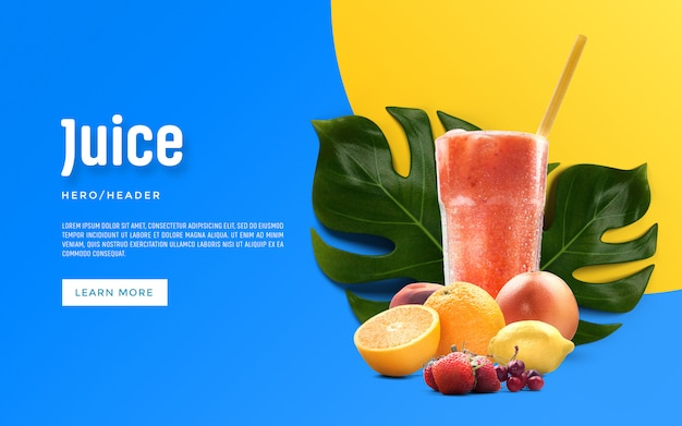 Juice hero header aangepaste scène