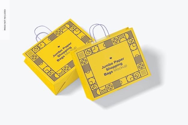 Jumbo papieren boodschappentassen mockup, bovenaanzicht