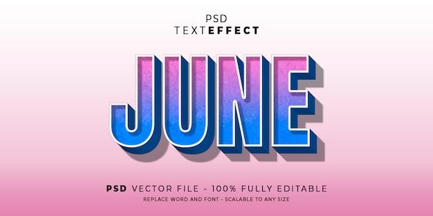 Juni-tekst en lettertype-effect bewerkbare stijlstijl