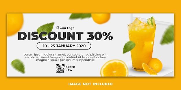 Jus d'orange drankje menu facebook cover banner sjabloon voor restaurant promotie