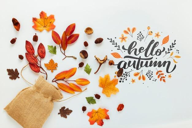 Jutezak met gedroogde bladeren