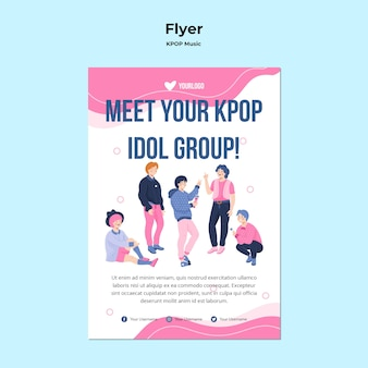 K-pop flyer-sjabloon met illustratie