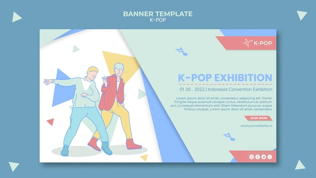 K-pop horizontale banner sjabloon geïllustreerd