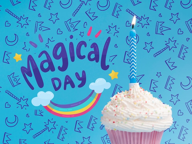 Kaars verlicht in cake voor verjaardagspartij