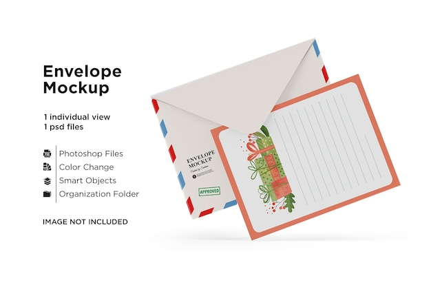Kaart- en envelopmodel met kerstconcept