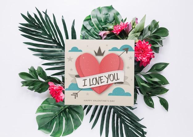 Kaart mockup met bloemen valentijnsdag concept