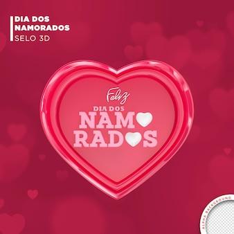 Kaart valentijnsdag in brazilië 3d render sjabloonontwerp
