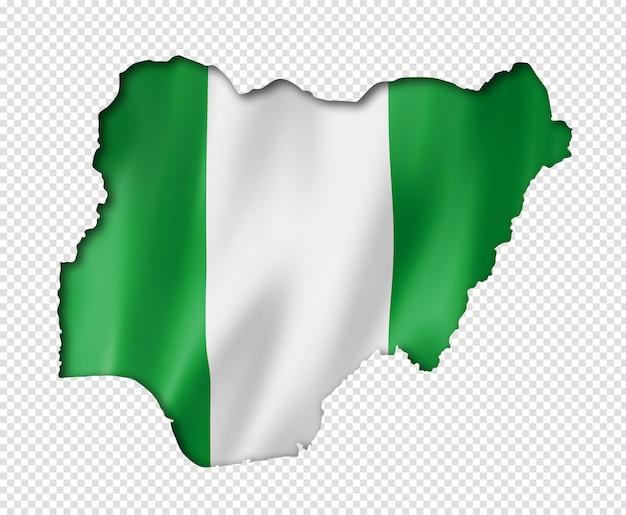Kaart van de nigeriaanse vlag