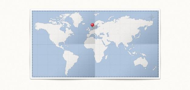 Kaart van de wereld en, pin psd