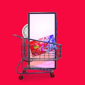 Kaart winkelwagen. 3d-rendering