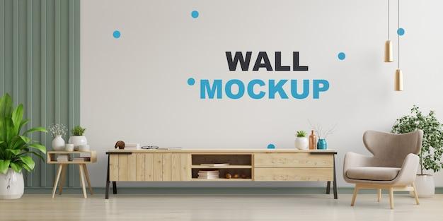 Kabinet tv in moderne woonkamer, interieur van een lichte woonkamer met fauteuil op lege witte muur. 3d-weergave