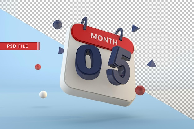 Kalender nummer 5 geïsoleerde sjabloon 3d render