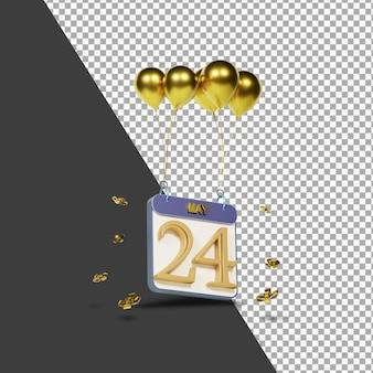 Kalendermaand 24 april met gouden ballonnen 3d-rendering geïsoleerd