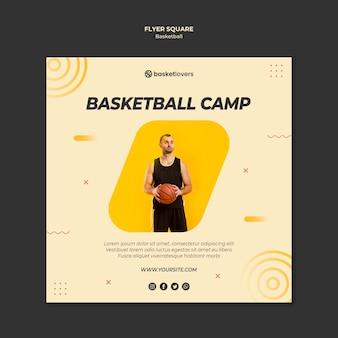 Kamp van basketbal vierkante flyer-sjabloon