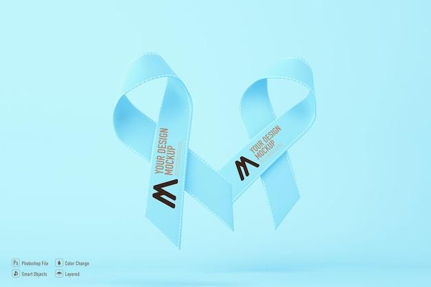 Kanker bewustzijn lint mockup geïsoleerd op blauwe achtergrond