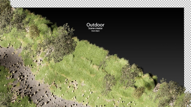 Kant van droge stroom met gras en stenen droge grot kreek rivierbedding