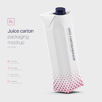 Kantelbare juice paper carton packaging mockup