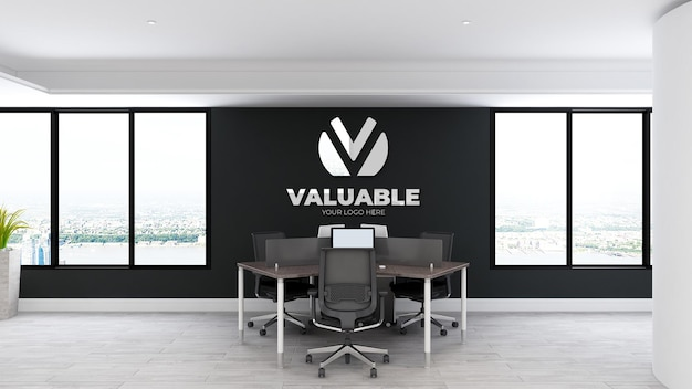 Kantoorruimte werkruimte muur logo mockup