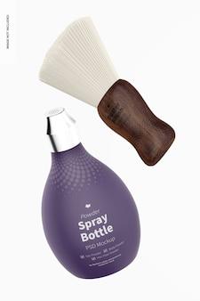 Kapper poeder spray fles mockup drijvend