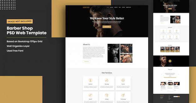 Kapper website bestemmingspagina sjabloon