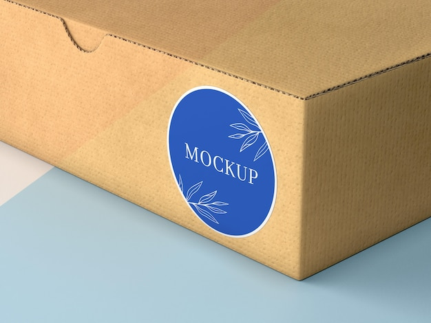 Kartonnen doos met sticker mock up