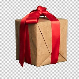 Kartonnen geschenk met een rode leugen over wit