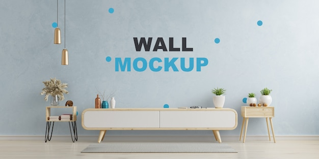 Kasten en muur voor tv in de woonkamer op blauwe muur, 3d-rendering