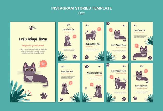 Kat adoptie instagram verhalen sjabloon