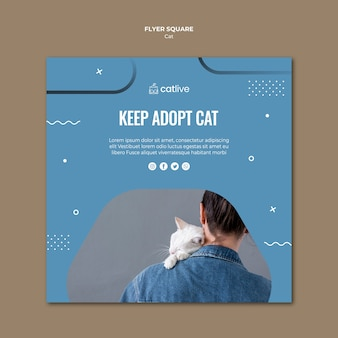Kat adoptie vierkante flyer