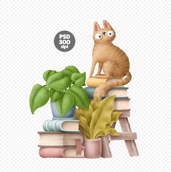 Kat en boeken geplaatst geïsoleerd