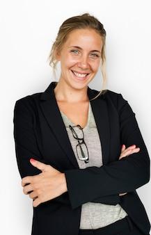 Kaukasische zakelijke vrouw lachend