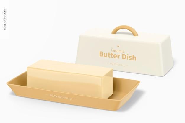 Keramische botervloot mockup, geopend